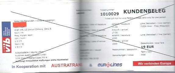 ウィーンからプラハまでのバスのチケット