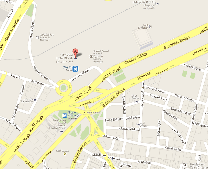 google mapでCairo central post officeと検索するとこの地図が。