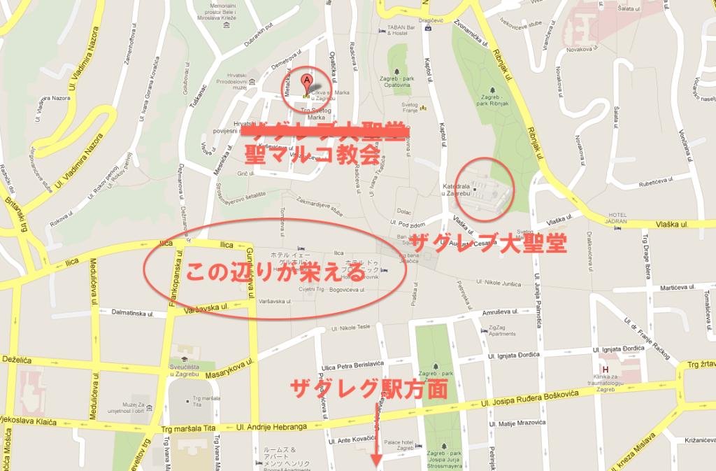ザグレブの地図