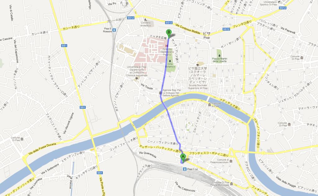 ピサ中央駅からピサの斜塔まで歩いて20分