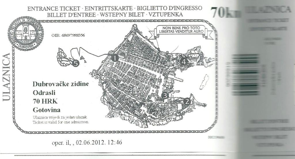 ドブロブニク旧市街城壁の入場チケット