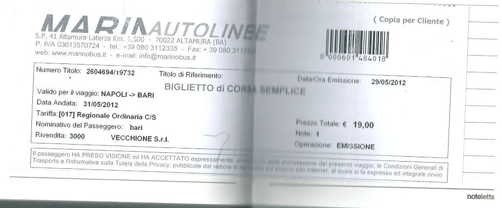 ナポリからバーリまでのバスチケット。