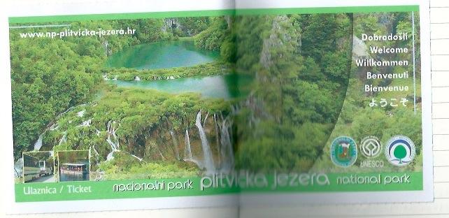ブリトヴィッツェ湖群の入場チケット。日本語も掲載される。