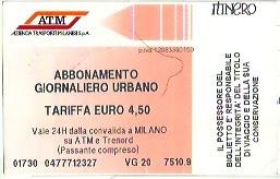 ミラノメトロ1日チケット:4.5ユーロ