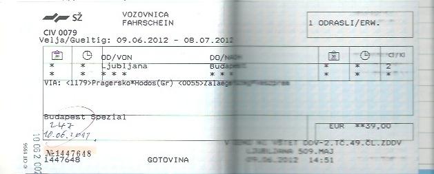 リュブリャナからブダペストまでの列車のチケット