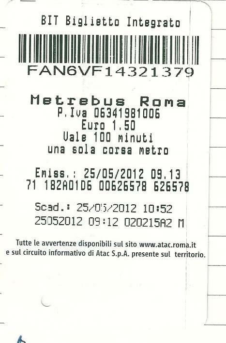 ローマのメトロ チケット