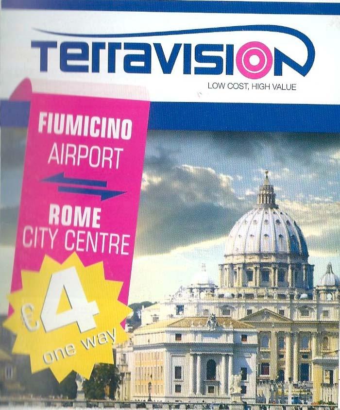 ローマ国際空港からローマ市内へのシャトルバスチケット