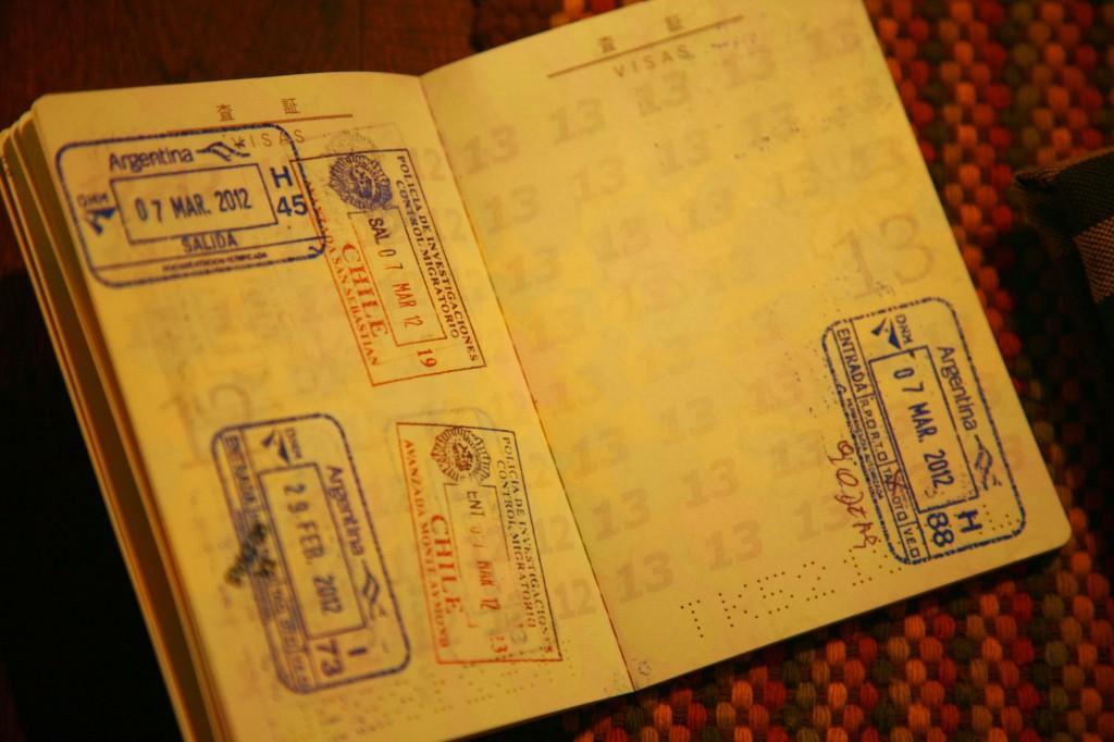 ウシュアイアまでの道中、チリの領土に入るので、パスポートにスタンプを押される