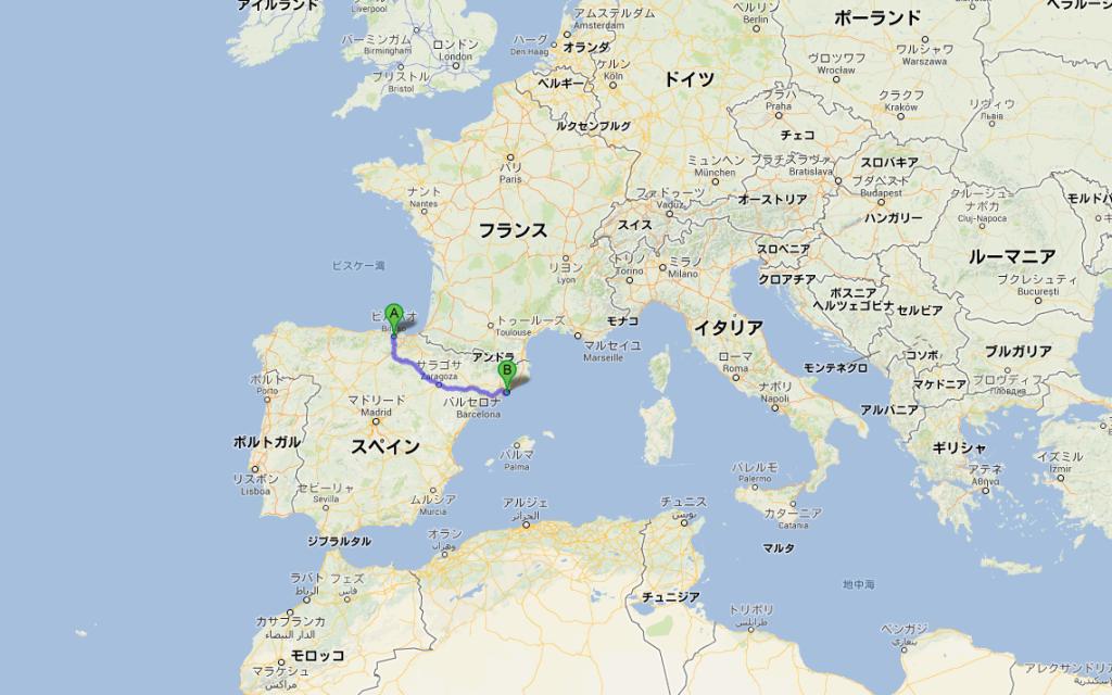 ビルバオ(スペイン)からバルセロナ(スペイン)までのバス移動