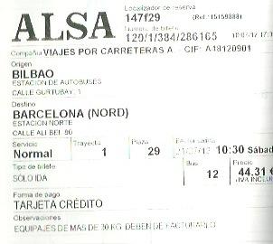 ビルバオからバルセロナまでのバスチケット