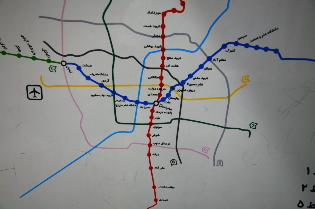 テヘランの地下鉄マップ