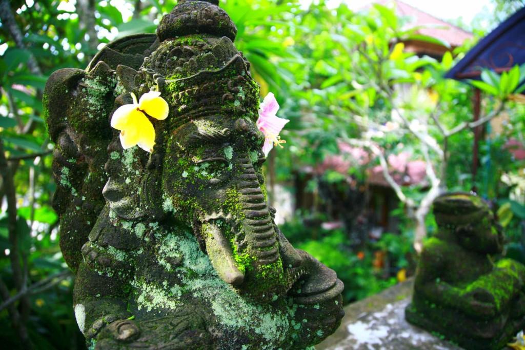 ガネーシャがお出迎え。毎日お花が違うのも、アリハウスのおもてなし