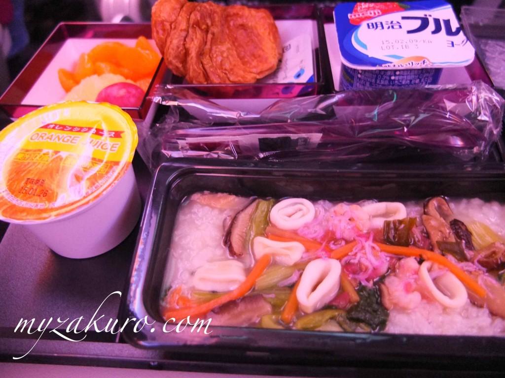 カタール航空の朝食(和食)