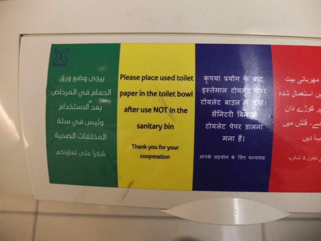 アラブの国でトイレットペーパーが便器に流せる事に感動しました!